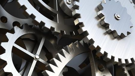 Uurwerk of een machine binnen. Close-up van tandwielen en radertjes. 3d illustratie
