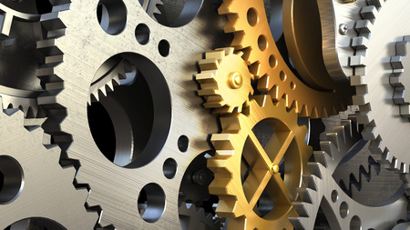 Clockwork mechanism or a machine inside. Closeup gears and cogs. 3d illustration Archivio Fotografico