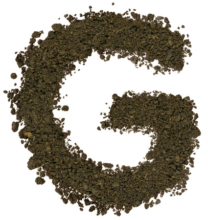 Alphabet made of brown soil on white background. High sharp and detail. Letter G