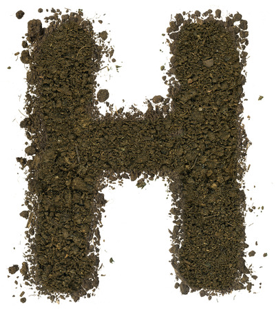 Alphabet made of brown soil on white background. High sharp and detail. Letter H Imagens