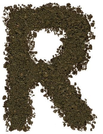 Alphabet made of brown soil on white background. High sharp and detail. Letter R