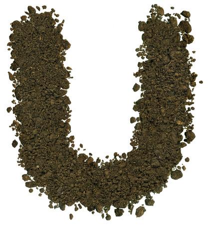 Alphabet von Braun Boden auf weißem Hintergrund gemacht. Hohe scharf und detailliert. Buchstabe U Standard-Bild - 38794016