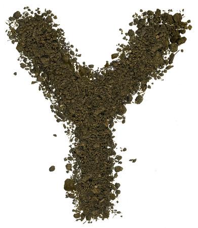 Alphabet der braunen Erde auf weißem Hintergrund gemacht. Hohe scharf und detailreich. Buchstabe Y Standard-Bild - 38794020