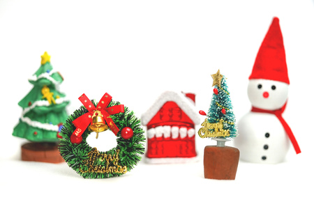 Snowman with Christmas tree. Merry christmas and happy new year concept. Imagens