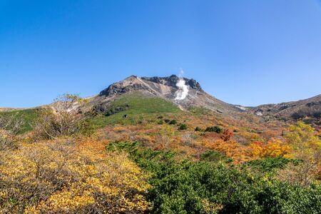 Mt. Nasu and Mt. Chausu autumn leaves 스톡 콘텐츠