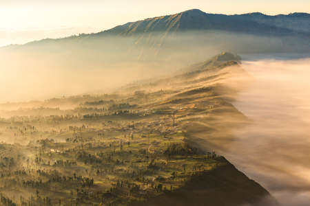 crater highlands: Cemoro Lawang; small village in morning mist. Which situated on the edge of massive north-east of Mount Bromo, East Java, Indonesia Foto de archivo