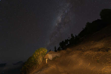 Milky way over the old house at Bromo,east java,Surabaya,Indonesia