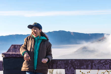 BROMO, INDONESIA - SEP 13: The happines  tourists at Mount Bromo on SEP 13, 2015 in Java, Indonesia. Mount Bromo is one of the most visited tourist attractions Éditoriale