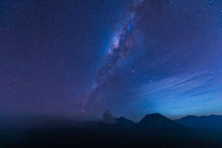 The Milky Way over the bromo volcano