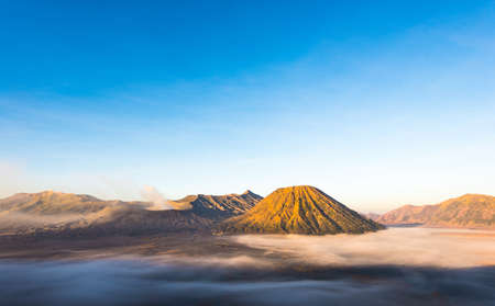 Mt.Bromo,Mt.Semeru,Mt.Batok covered with fog and sulfur gas.These are some of the active volcanoes In East Java,Indonesia
