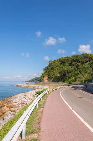 Beautiful of bicycle lane along the sea, Chanthaburi,Thailand