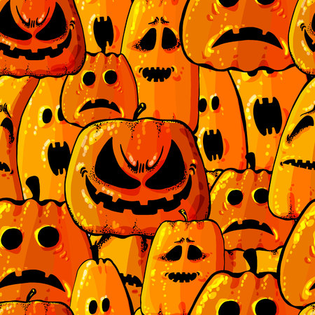 Halloween holiday seamless pattern background with hand drawing elements - pumpkin, ghost, cat and skull