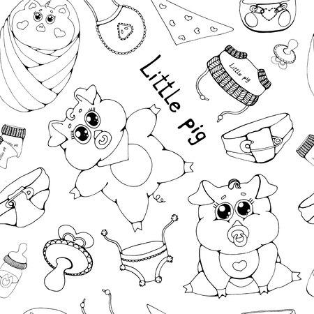 . Little pigs in different poses. Clean and mud. Flat vector illustration isolated on white background.