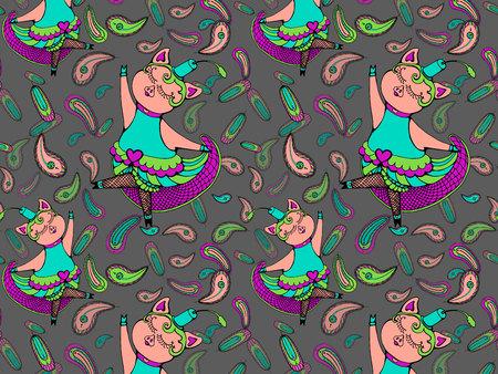 Vector illustration of cute pig cancan dancer Illustration