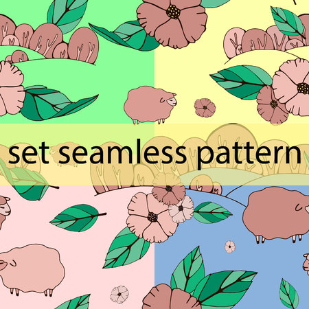 cute lambs on the field with flowers. pattern, vector. drawing for pastel linen, fabrics for children's clothes, for decoration Standard-Bild - 124153659