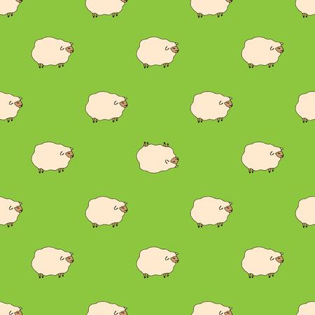 Schafmuster, Vektorillustration von niedlichen Schafen, Cartoon-Stil.