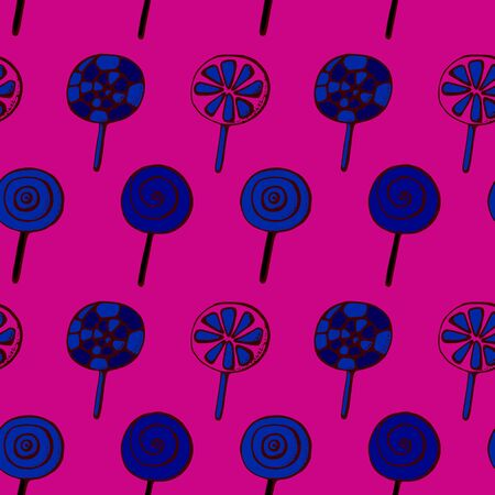 Colorful lollipops on pastel background in flat style design. Seamless background with cute candy. Stock Illustratie
