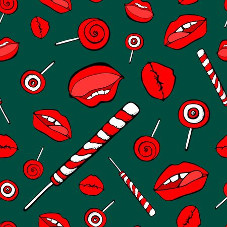 Part of the body, the expression of the lips, to lick the Lollipop. Abstract white seamless background of candy and lips. green backgraund Ilustração