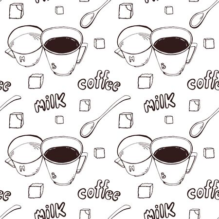 Vector background with coffee cups, milk jugs, beans, a spoon, coffee pots, sugar cubes, a grinder. Modern line style.