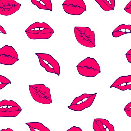 Cosmetics and makeup seamless pattern. Closeup beautiful lips of woman with red lipstick. Sexy lip make-up. Open mouth. Sweet kiss. Seamless pattern in pop style Illustration