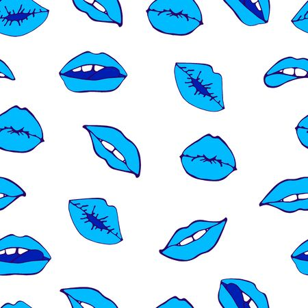 Cosmetics and makeup seamless pattern. Closeup beautiful lips of woman with red lipstick. Sexy lip make-up. Open mouth. Sweet kiss. Seamless pattern in pop style
