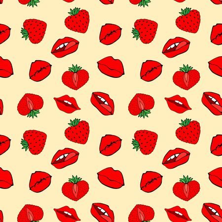 Hand drawn Seamless pattern symbol female. Comic style. Kiss lips and strawberry. Vector surface design isolated