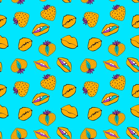 Hand drawn Seamless pattern symbol female. Comic style. Kiss lips and strawberry. Vector surface design isolated Standard-Bild - 129787694