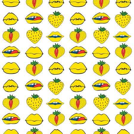 Hand drawn Seamless pattern symbol female. Comic style. Kiss lips and strawberry. Vector surface design isolated Standard-Bild - 129787699
