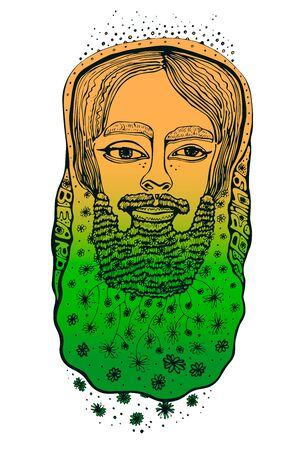 Bearded hipster man. Coloring book page for adult. Illusztráció