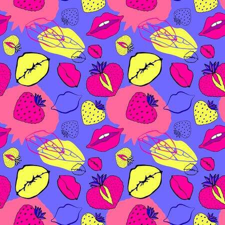 Seamless pattern symbol female. Comic style. Kiss lips and strawberry. Vector surface design isolated