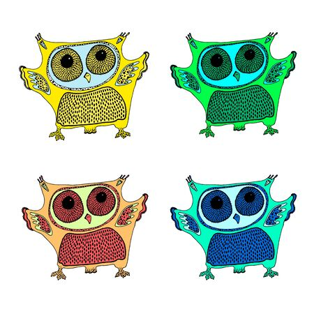 set of cute colorful owls isolated on white background Foto de archivo - 129202027