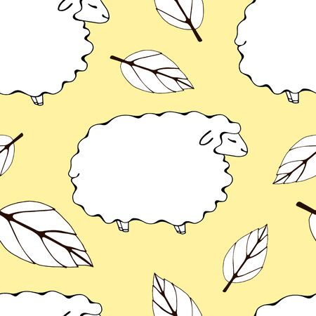 seamless pattern with lambs and leaves. white sheep and leaves on a peach background.