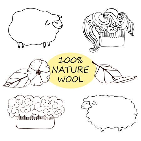 Abstract label with small sheep and the words Natural Wool. Vektorgrafik