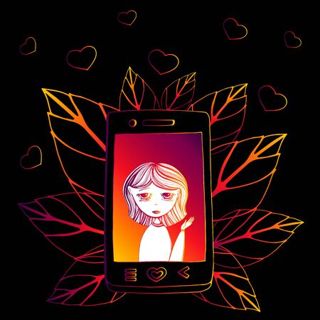 Vector cartoon illustration of Happy young woman talking on the phone with speech bubble. Isolated object on black background. leaves, heart, gradient of orange, pink, purple Çizim