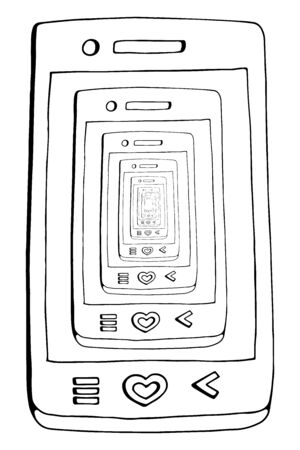 Vector flat illustration of smartphone recursion. phone on the phone screen, on the screen of another phone