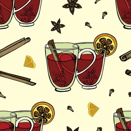 Seamless background with mulled wine and spices. Hand-drawn vector illustration. cinnamon sticks, star anise, slices of orange, two mugs, the handles of which form a heart