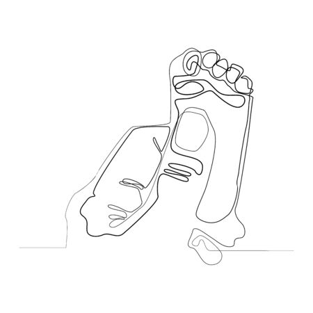 Baby footprint continuous line vector illustration. One line. Small baby foot in parent's hand