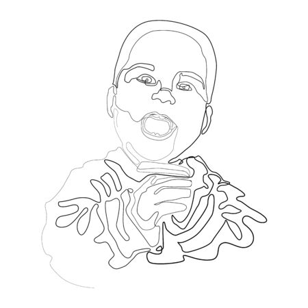 Baby boy face line icon. Newborn concept. Childhood, kid, face. Vector illustration for topics like childhood, nursery, baby birth. One line drawing