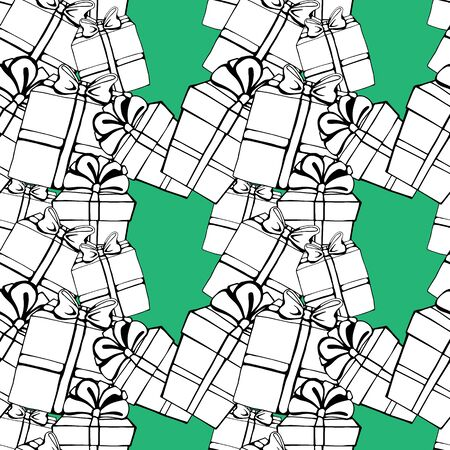 Seamless pattern with colorful gift boxes. Pattern for fabric print, wrapping paper design. mint backgraund Stock Illustratie