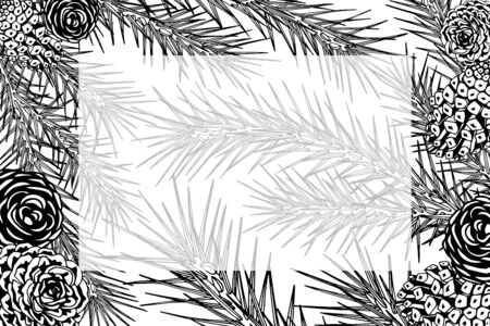 Framework with pine branches, cones, needles, decorative twigs and leaves on white background, hand digital draw, watercolor style, decorative botanical illustration for design, Christmas tree, vector Ilustração