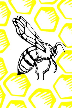 Honeycomb and bees. background in vector format with space for your text. one line.