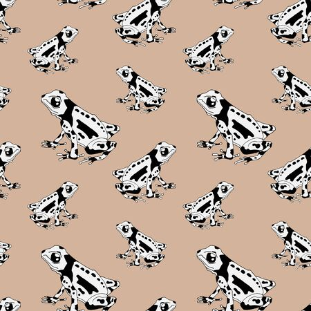 Vector illustration of seamless pattern with frogs. Monochrome linear graphic - black and white. Nice for textile printing, wrapping paper etc. Gray backgraund