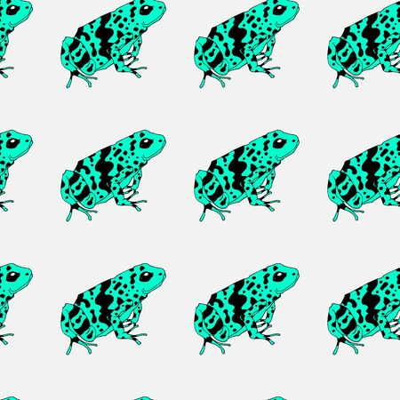 A pattern with poisonous frogs. Seamless pattern. Bright summer pattern. Drawing by hand. Lovely frogs of bright colors. multicolored pattern. Tropical frogs. White background