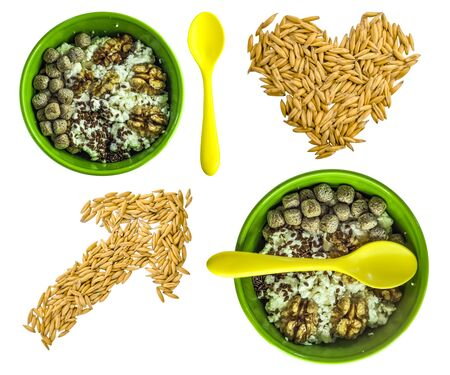 healthy breakfast concept. good food. cottage cheese with bran, flaxseeds and walnuts. green plate. yellow spoon. Suitable for illustrating a recipe, an article on malnutrition. oat heart and arrow