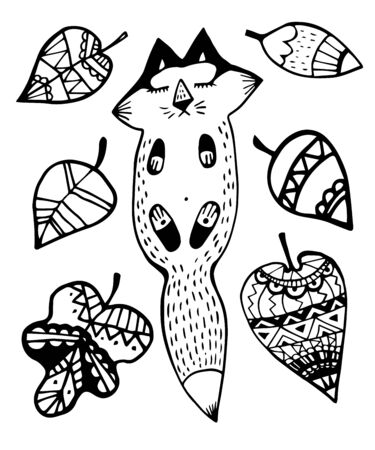 Vector illustration zentagl, hedgehog and fox sleeping in the flowers. Doodle drawing. Meditative exercises. Coloring book anti stress for adults and children. Black and white.