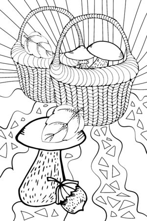 Vector wicker basket with outline forest mushroom in black isolated on white background. Boletus, chanterelles, porcini, russula mushrooms in contour style for autumn design and coloring book. basket in the grass. stylized drawing. doodling. single line drawing