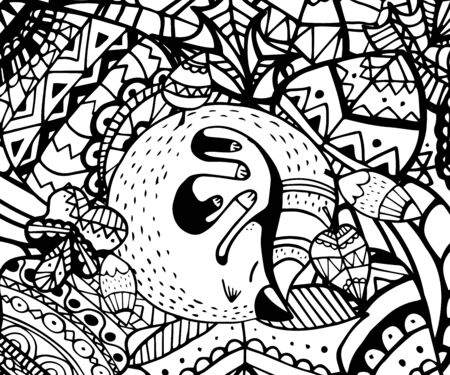 Vector illustration zentagl, hedgehog and fox sleeping in the flowers. Doodle drawing. Meditative exercises. Coloring book anti stress for adults and children. Black and white. Vektorové ilustrace