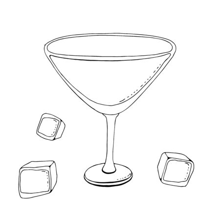 wine glass vector line icon, sign, illustration on background, editable strokalcohol glass for vermouth. wine glass conical shape. one line. simplified style, stylization, simple style. glass goblet. capacity for alcohol. white background, black line. three pieces of ice for cocktailses