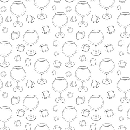 Stylized seamless background pattern with cocktail glasses, straws and ice cube. Hand-drawn sketch of wine glass.