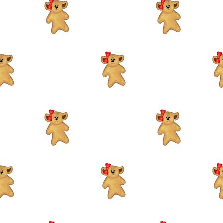 Baby teddy bear seamless pattern background. cute teddy bears. brown wool, bead eyes, bows on the ears. red bow. simple style, flat style. vector simless pattern for baby clothes, decoration of a child s room, wrapping paper for Valentine's Day.